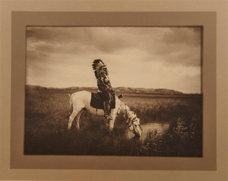 EDWARD SHERIFF CURTIS, (American, 1868-1952), An Oasis in the Bad Lands, double border gelatin silver print, image: 5 3/4 x 7 3/4 in.; sheet: 10 1/2 x 12 1/2 in.
