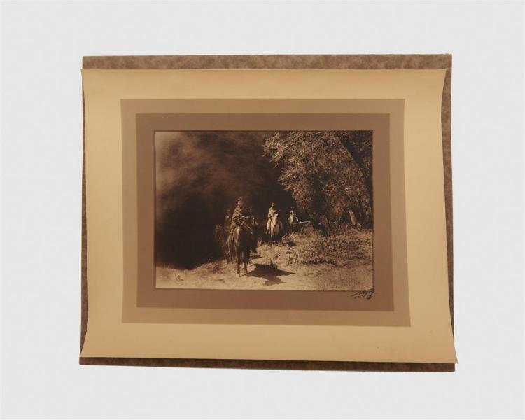 EDWARD SHERIFF CURTIS, (American, 1868-1952), Out of the Darkness, double border silver gelatin print, image: 5 3/4 x 7 3/8 in., sheet: 10 1/4 x 12 1/2 in.