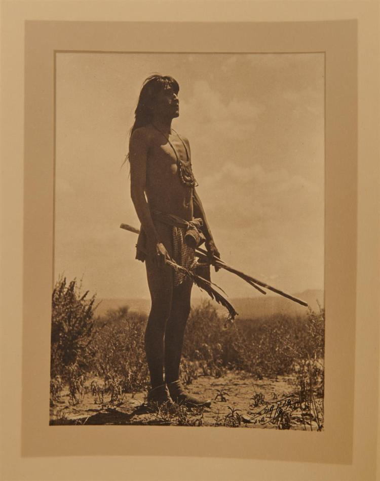EDWARD SHERIFF CURTIS, (American, 1868-1952), Prayer to the Sun by Hopi Snake Priest, double border silver gelatin print, image: 7 3/4 x 5 3/4 in., sheet: 13 1/2 x 10 1/2 in.