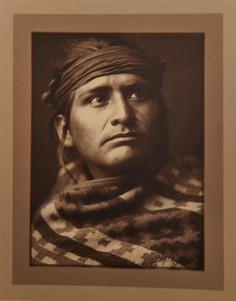 EDWARD SHERIFF CURTIS, (American, 1868-1952), Chief of the Desert, double border silver gelatin print, image: 7 3/4 x 5 3/4 in., sheet: 13 1/2 x 10 1/2 in.