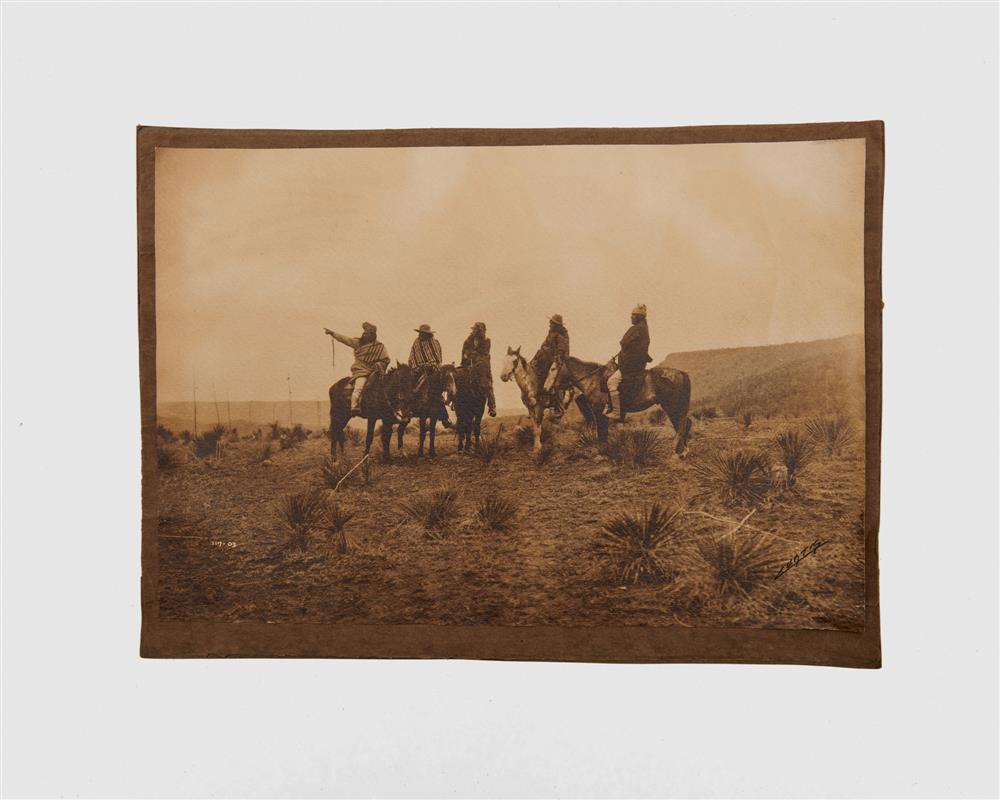 EDWARD SHERIFF CURTIS, (American, 1868-1925), The Lost Trail, Apache, platinum print on textured paper, 10 1/2 x 15 3/8 in.