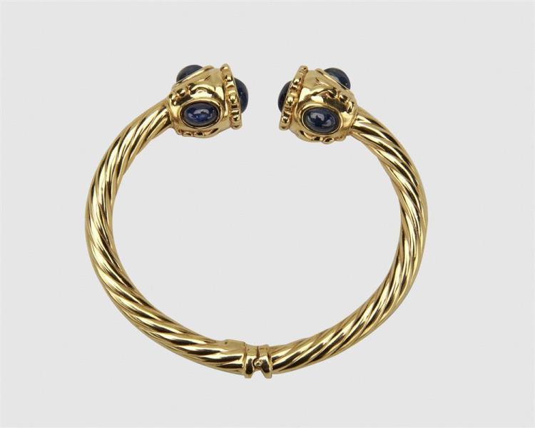 14K Gold and Sapphire Bangle Bracelet