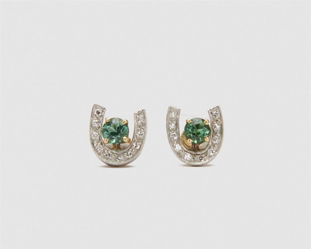 14K Gold, Gemset, and Diamond Earrings