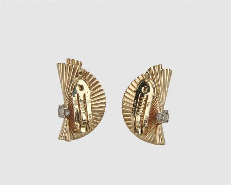 14K Gold and Diamond Earclips
