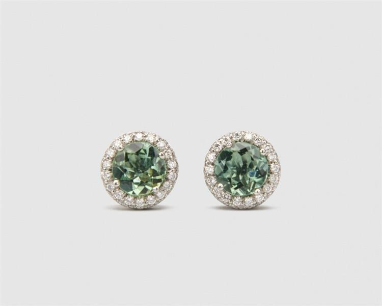 Platinum, Tourmaline, and Diamond Stud Earrings