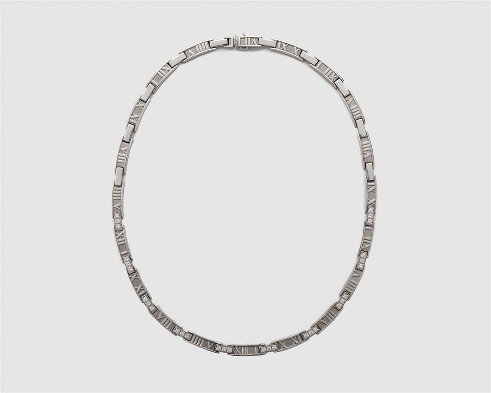 "TIFFANY & CO. 18K Gold and Diamond ""Atlas"" Necklace"