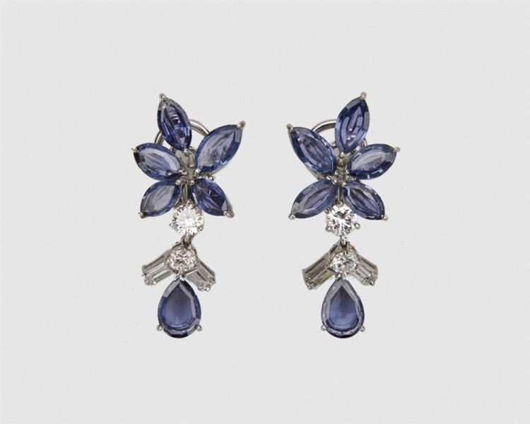 Platinum, Sapphire, and Diamond Pendant Earrings