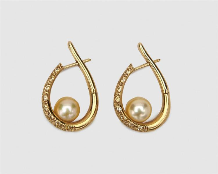 MIKIMOTO 18K Gold, Sapphire, and Pearl Hoop Earrings