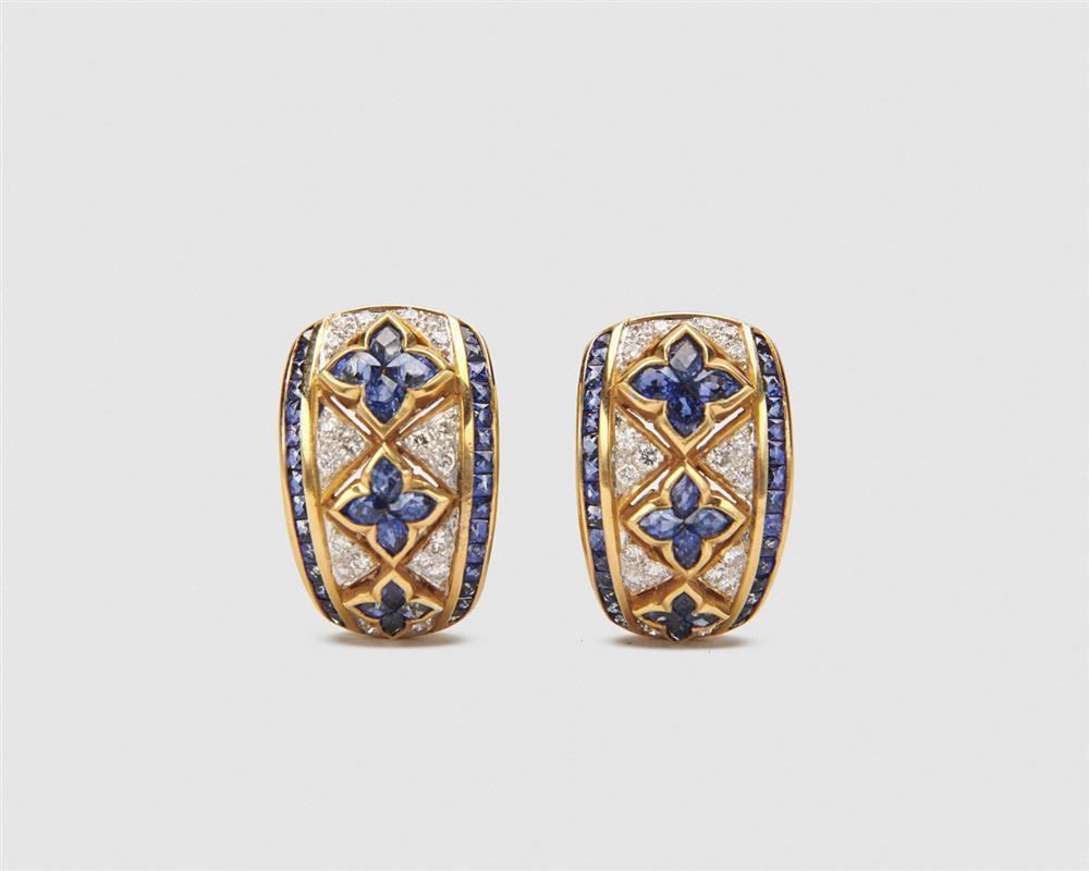 18K Gold, Sapphire, and Diamond Hoop Earrings