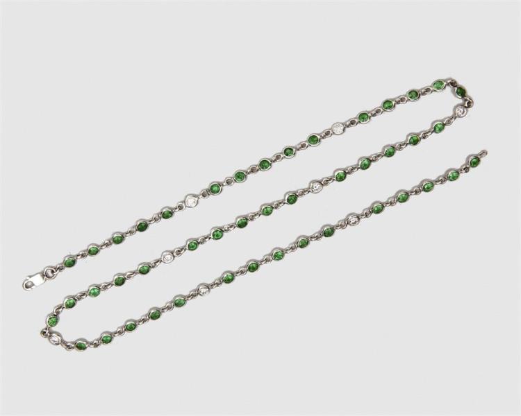 14K Gold, Tsavorite Garnet, and Diamond Necklace