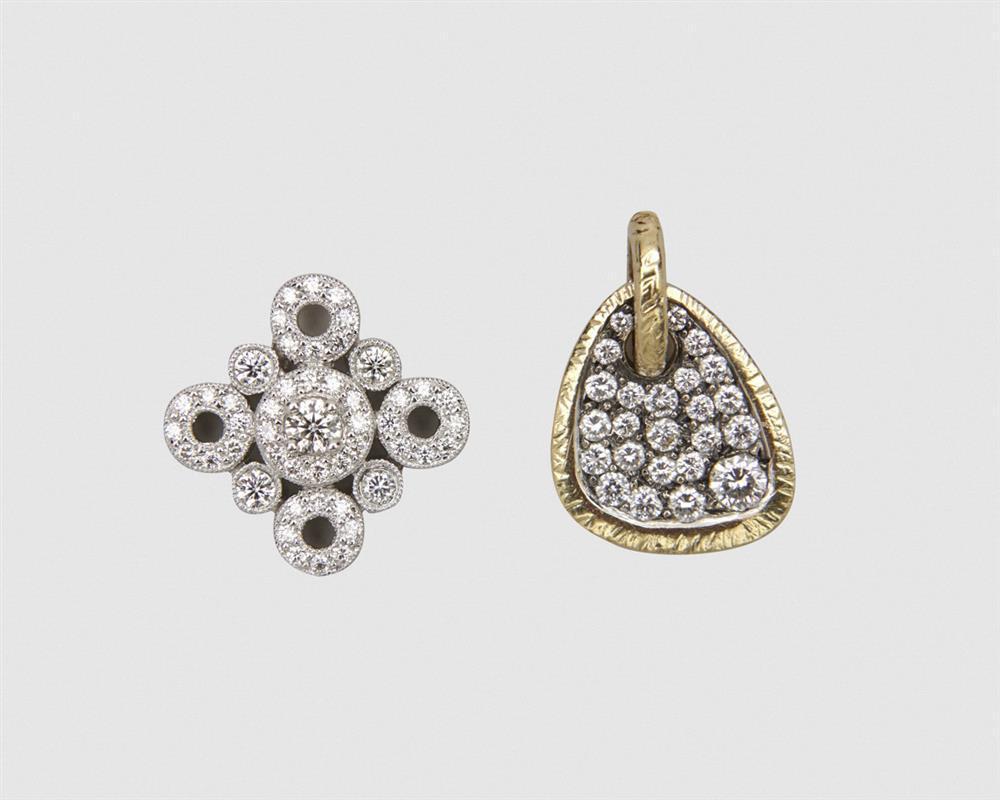 Two Gold and Diamond Pendants