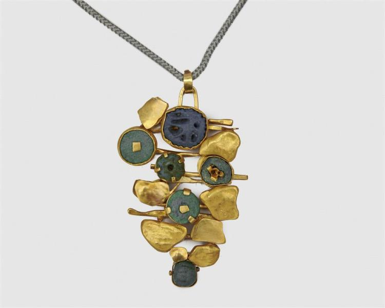 ATELIER JANIYE 18K Gold, 24K Gold, and Antique Egyptian Faience Pendant