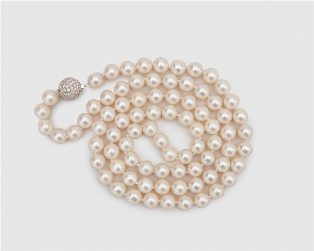 BUCHERER South Sea Pearl Necklace with 18K Gold and Diamond Clasp