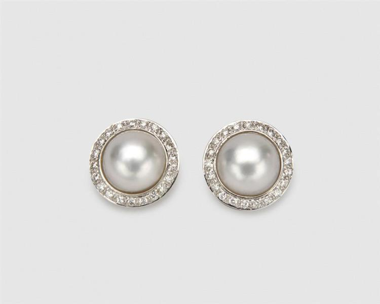 BUCHERER 18K Gold, Mabe Pearl, and Diamond Earclips