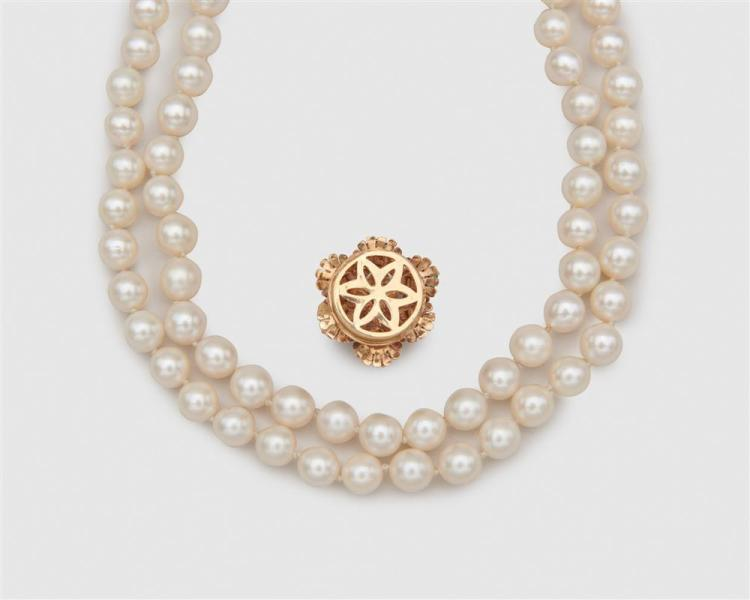 Double Strand Pearl Necklace with 14K Gold and Gemset Clasp