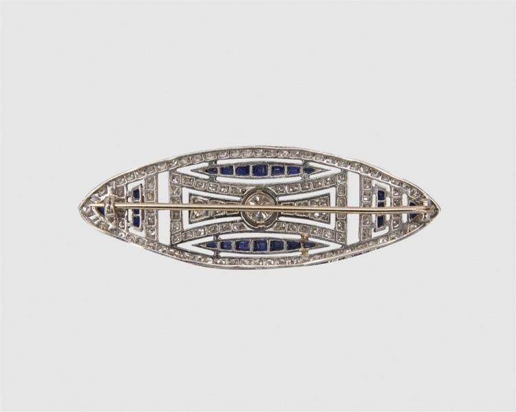 Platinum, Diamond, and Sapphire Brooch