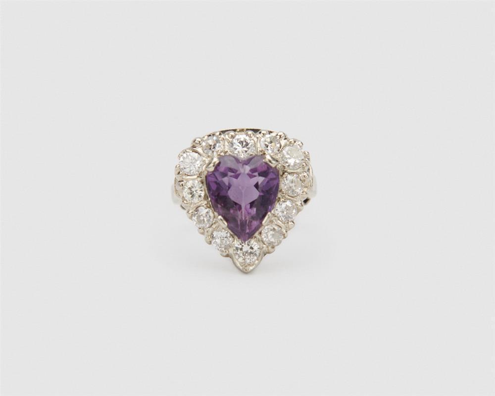 Platinum, Amethyst, and Diamond Ring