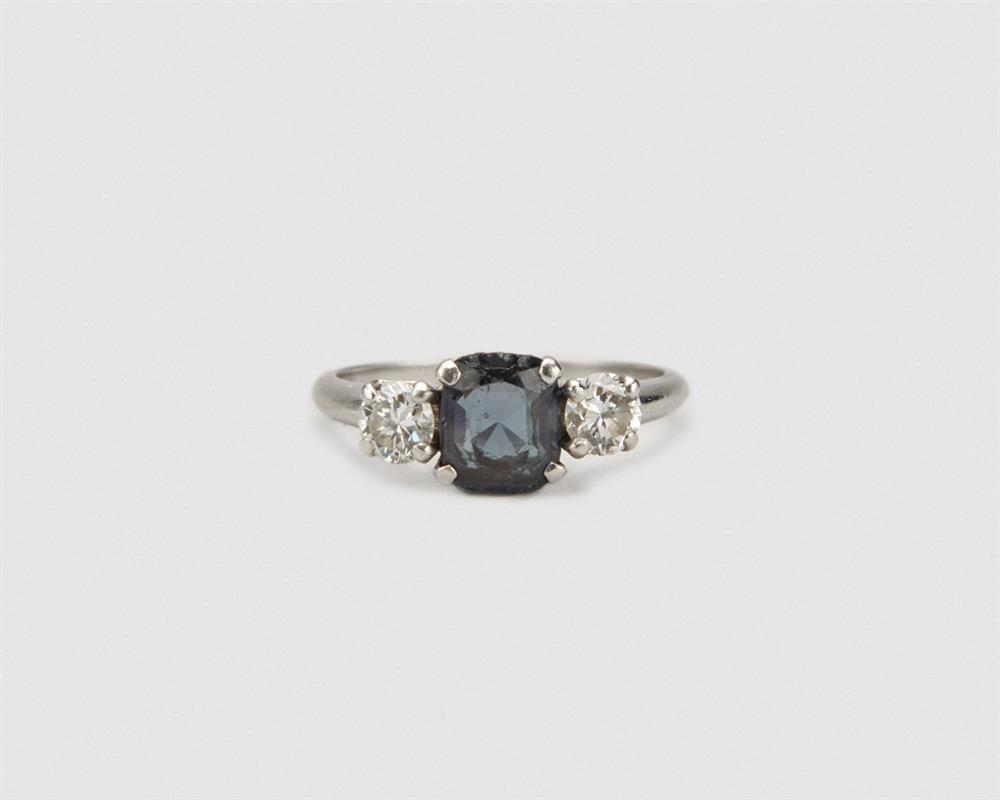 Platinum, Alexandrite, and Diamond Ring