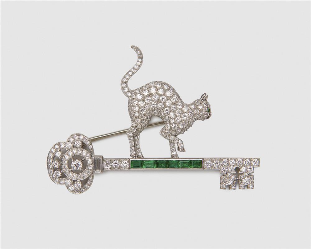 Platinum, Diamond, and Emerald Brooch