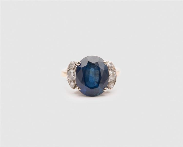 14K Gold, Sapphire, and Diamond Ring