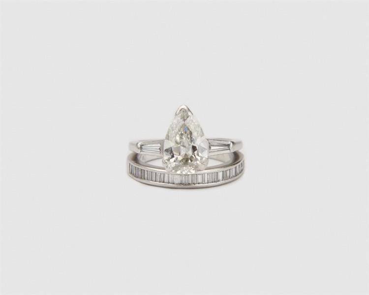 Platinum and Diamond Ring and Band