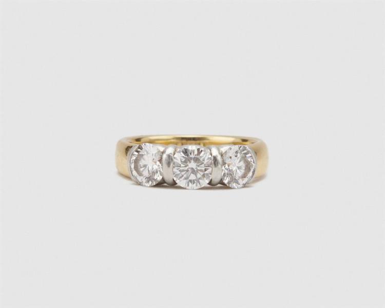 TIFFANY & CO. 18K Gold, Platinum, and Diamond Ring