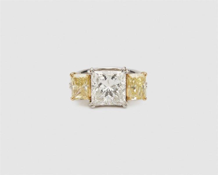 Platinum, Gold, Diamond, and Colored Diamond Ring