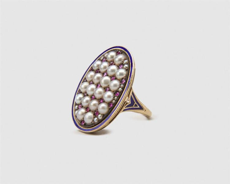 14K Gold, Enamel, Pearl, and Ruby Ring