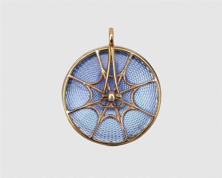 Platinum, 18K Gold, Enamel and Diamond Pendant