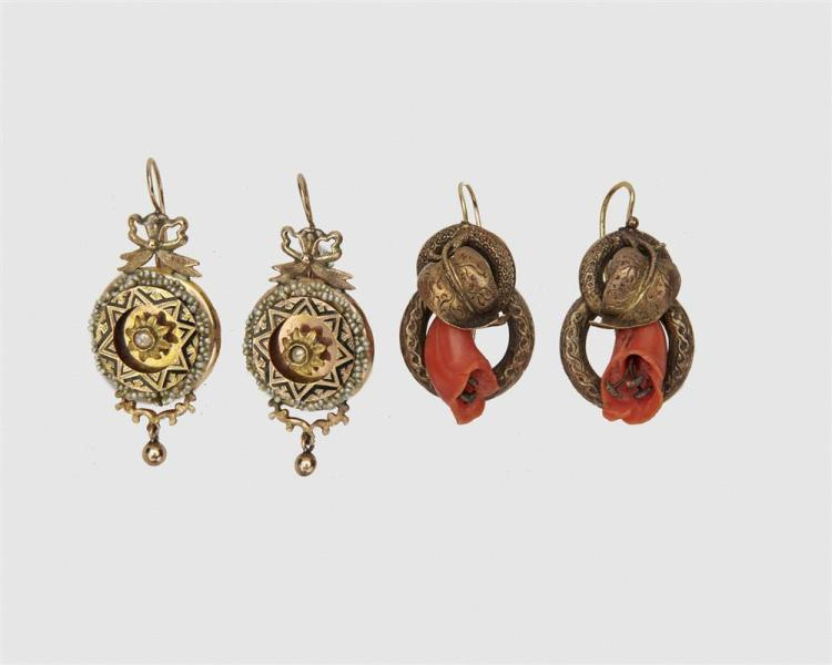 Two Pairs of Yellow Gold Victorian Pendant Earrings