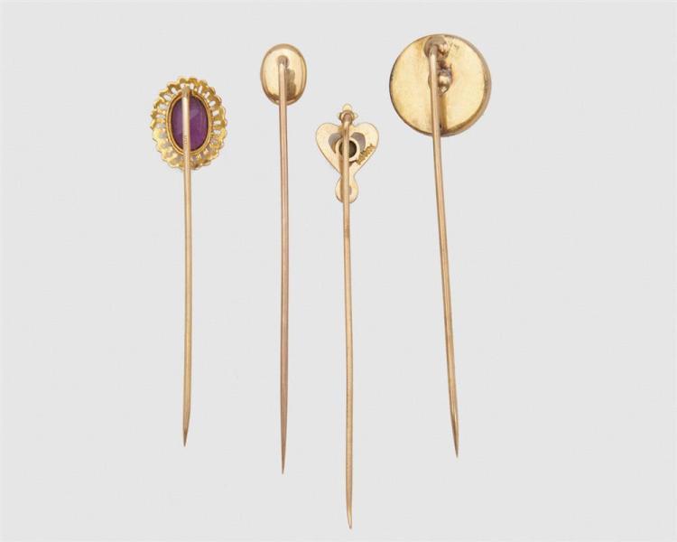 Four Gold and Gemset Stickpins