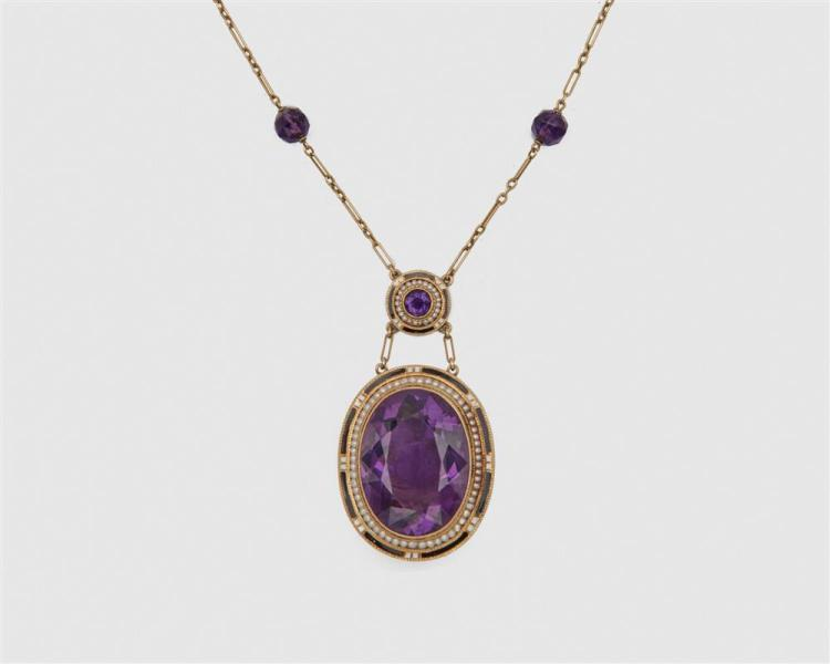 14K Gold, Amethyst, Enamel, and Seed Pearl Pendant Necklace