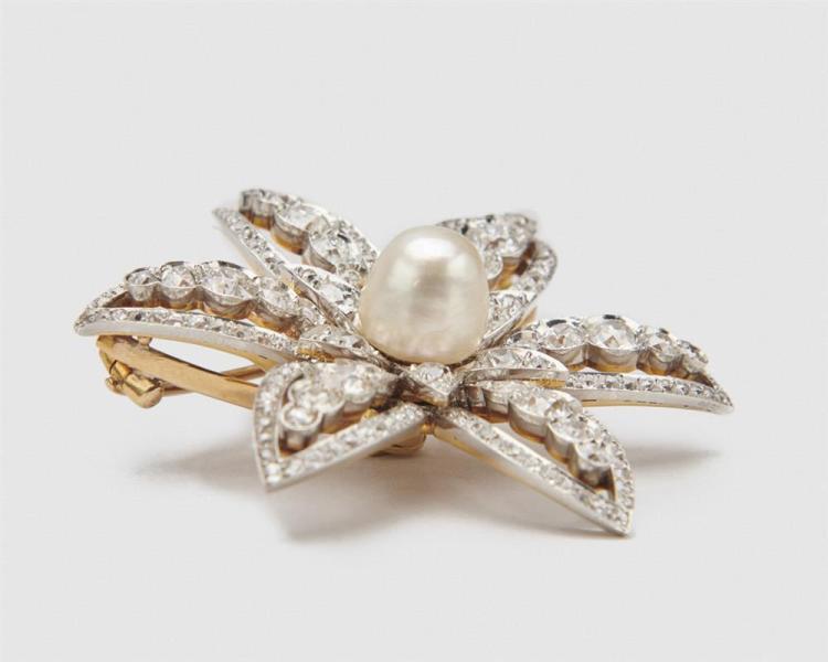 J.E. CALDWELL & CO. Platinum, 18K Gold, Diamond, and Natural Pearl Brooch