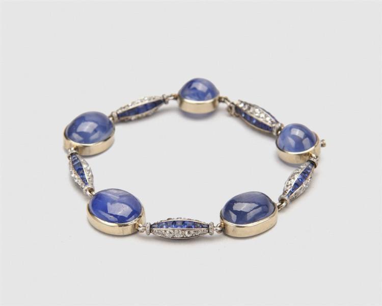 Platinum, Star Sapphire, Diamond, and Sapphire Bracelet