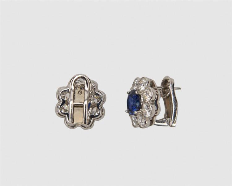 Platinum, Sapphire, and Diamond Earrings