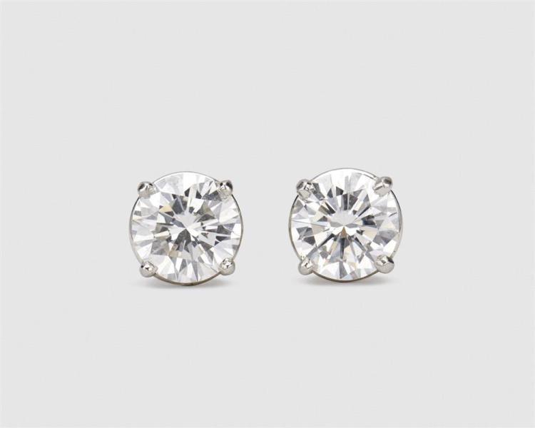 Platinum and Diamond Stud Earrings