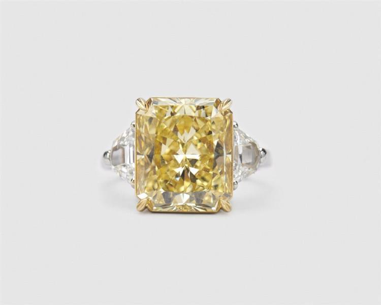 Platinum, 18K Gold, Colored Diamond, and Diamond Ring