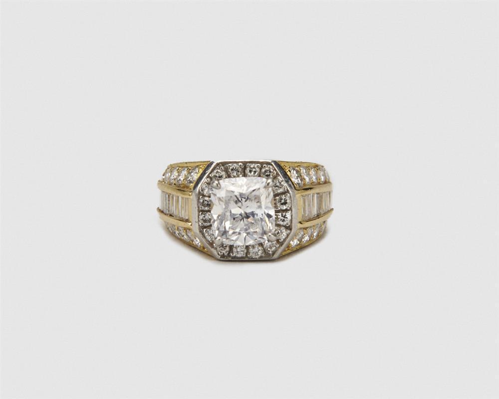 CARTIER Platinum, 18K Gold, and Diamond Ring