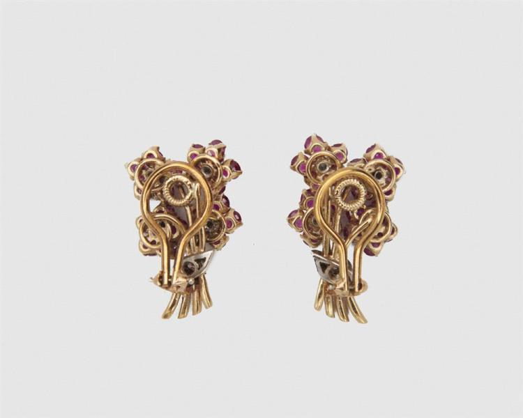 14K Gold, Ruby, and Diamond Earclips