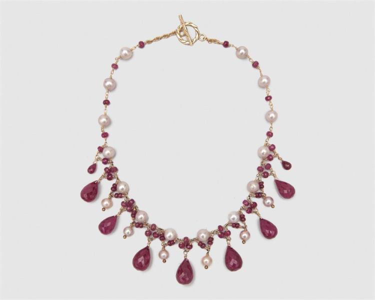 14K Gold, Ruby, and Pearl Necklace