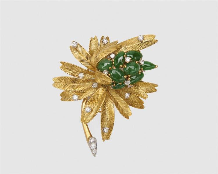 OLGA TRITT 18K Gold, Jadeite, and Diamond Brooch