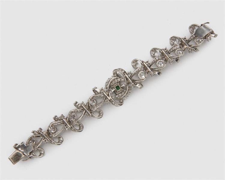 Platinum, Diamond, and Emerald Bracelet
