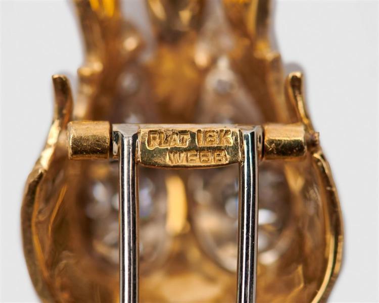 DAVID WEBB 18K Gold, Platinum, Diamond, and Emerald Brooch