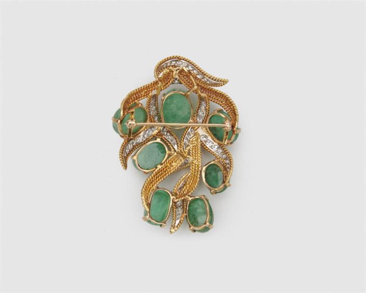 18K Gold, Emerald, Sapphire, and Diamond Brooch