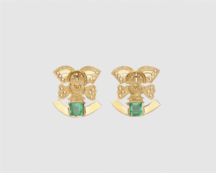 18K Gold and Emerald Earrings