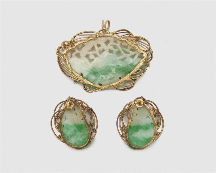14K Gold, Jadeite, Diamond, and Emerald Suite