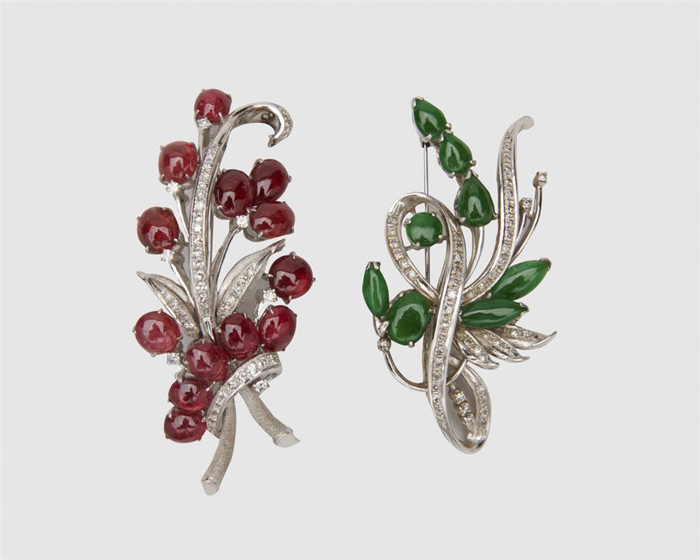 Two 14K Gold and Gemset Brooches
