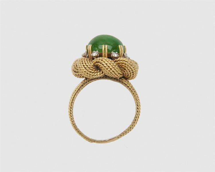 18K Gold, Jadeite, and Diamond Ring
