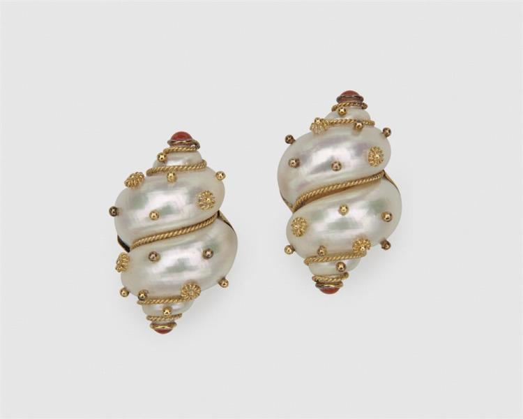 MAZ 18K Gold, Turbo Shell, and Coral Earclips