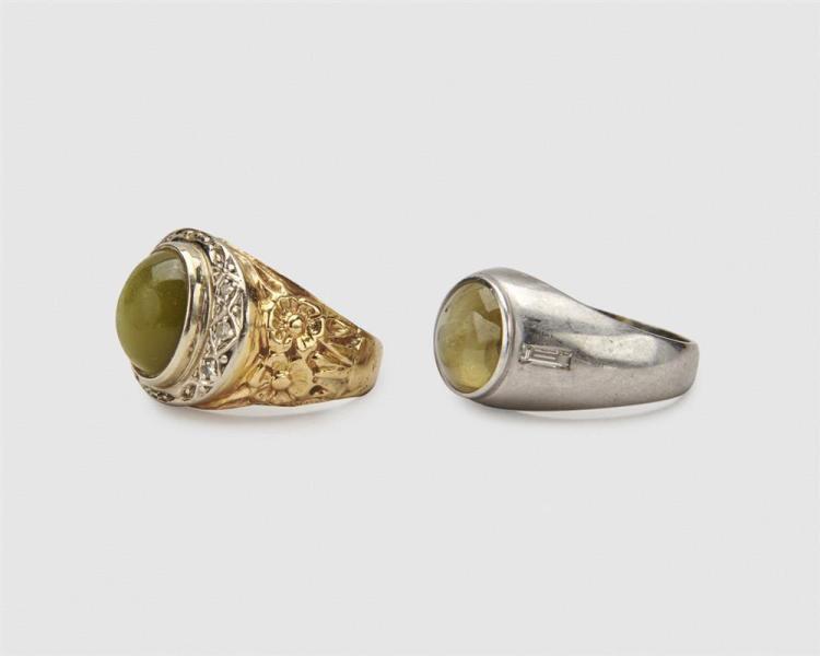Two Chrysoberyl and Diamond Rings